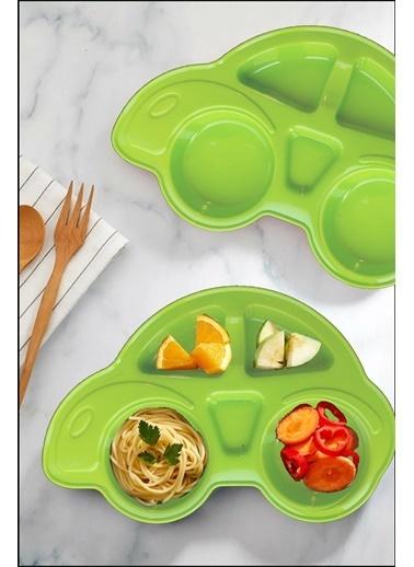 Kitchen Love 2 Adet Araba Model  5Bölmeli Mama Tabağı Yeşil